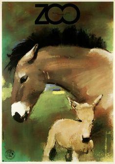 Świerzy Waldemar  'ZOO Horses' - Polish Poster, 1979