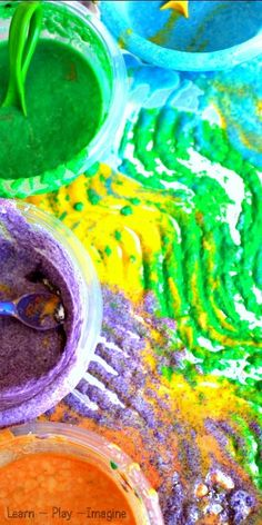 Homemade Sand Paint Recipe - Create textured and scented paint for a multisensory art experience kids will love!  Paint on foil for vibrant print making and added textures.