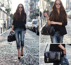 boyfriend jeans with black blazer