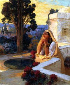 Rêverie, Oil On Canvas by Frederick Arthur Bridgman (1847-1928, United States)