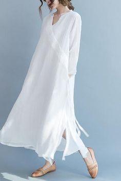 White Silk Linen Long Summer Dresses V-Neck Women Clothing Q3111