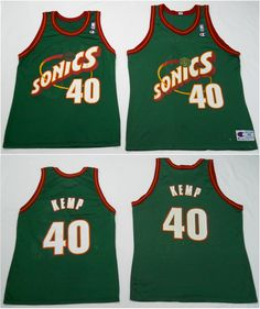 Vintage mid late-90s Sonics Kemp jerseys by Champion in rough shape (40