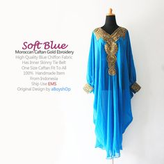 Moroccan Soft Blue Chiffon Caftan Gold Embroidery by aboyshop, $44.44