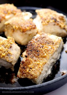 Instead of breadcrumbs, how about using ground nuts as a crust for fish or meat? This Pecan Encrusted Halibut Recipe from She Wears Many Hats sounds delicious.