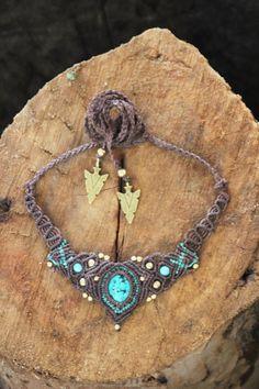 Turkiz Necklass Brass Beads by MacreMay on Etsy