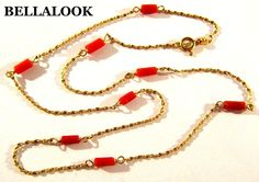 ESTATE MARKD 750 18K SOLID YELLOW GOLD CHAIN & RED CORAL STATION NECKLACE 2.4g #STATION