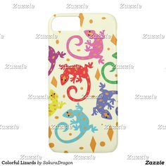 Colorful Lizards iPhone 7 Case #lizards #animals #reptiles #cute #colorful