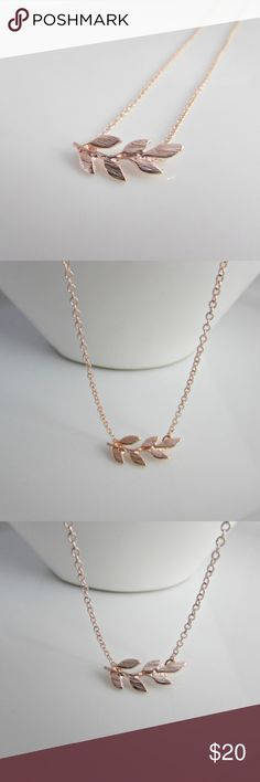 """18k Rose Gold laurel leaf Necklace boho A delicate, elegant and beautiful piece. This dainty Boho 18k Rose Gold plated laurel leaf necklace would make a great gift for you, or someone else. The Chain is 18"""" inches. Nickel free and lead free zinc alloy that has been plated in 18k rose gold. The Midnight Fig Jewelry Necklaces"""