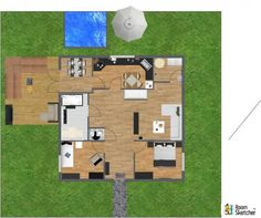 YOU DECIDE - If this family is throwing a party, what needs to be added to the landscape and yard? Patio furniture & landscaping plant life ready for you: http://www.roomsketcher.com/products/overview/ 3D floor plan for family home and yard with pool - aerial view - designed in RoomSketcher by Sunniva Kvelna Tonst