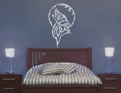 Tree Wolf Moon Wall Vinyl Large by WallsOfText on Etsy, $22.95