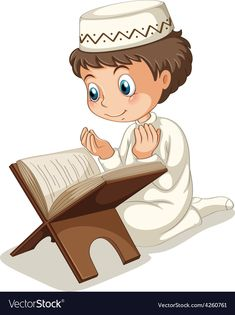 Little Young Muslim Girl Reading Quran Holy Book Stock.Arab clipart reading quran Pencil and in color arab.Islam clipart cartoon Pencil and in color islam clipart.
