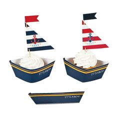 Nautical Baby Shower Cupcake Wrappers with Picks - OrientalTrading.com I think this would be perfect for cupcakes: Ladies- are you good with this?