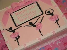 This cake I made for my granddaughter's birthday. It was inspired by a lovely cake from CorrieCakes and the instant I saw it, I knew it was a must try! I'm sure I didn't do her's justice, but I do love the way it turned out. It is a fondant. Ballet Birthday Cakes, Ballet Cakes, 5th Birthday Cake, Birthday Sheet Cakes, Happy 6th Birthday, Ballerina Cakes, Ballerina Birthday, Birthday Ideas, Dance Cakes
