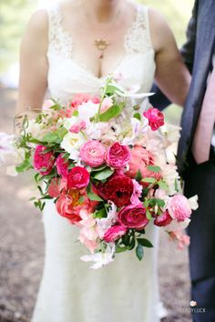 Bright pink garden roses: http://www.stylemepretty.com/2015/06/18/the-23-prettiest-garden-rose-bouquets/