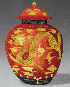 Embroidery Antique...  This hand-embroidered ginger jar with a Chinese dragon would make a beautiful work of art to frame. more »  $130.00   Etsy