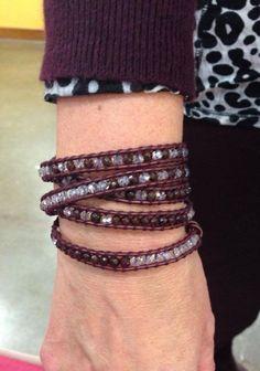 Amazing Garnet and Crystal 5 wrap! Looks so great on this beautiful customer! #garnet #wrapbracelet