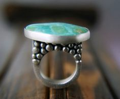 Paradise on a Pedestal ------ Turquoise Sterling Silver Ring
