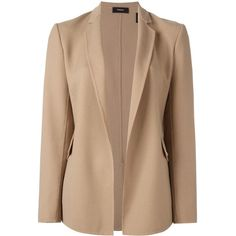 Theory flap pockets open blazer ($652) ❤ liked on Polyvore featuring outerwear, jackets, blazers, tops, beige jacket, theory blazer, blazer jacket, theory jacket and beige blazer