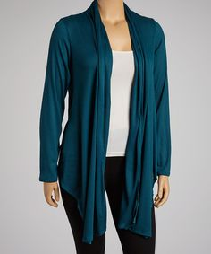 Take a look at this Dark Teal Open Cardigan - Plus by Sweater Dress Shop: Plus-Size on @zulily today!