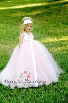 Pink Flower Girl Dress with Train  NB to 5T by KaceysBoutique, $104.95