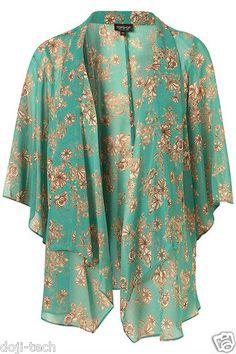Topshop Premium Jade Floral Sheer Vtg Kimono Shawl Jacket Cardigan 12 14 40 M | eBay