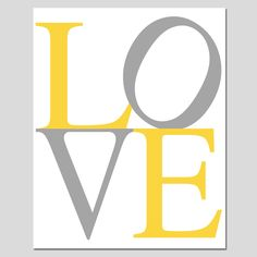 LOVE 11 x 14 Modern Typography Print in Gray Yellow by Tessyla...in pink and grey