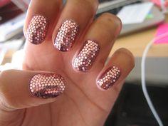 rose gold, glitter nail