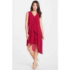 Adrianna Papell Ruffle Front Crepe High/Low Dress ($139) ❤ liked on Polyvore featuring dresses, radish, ruffle front dress, ruffle v neck dress, adrianna papell dresses, low dresses and adrianna papell