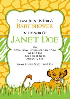 PRINTABLE INVITATION, Lion King Baby Shower Invitation On Etsy, $5.00