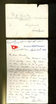 alfred lowe letters, he wrote 2 from the titanic, the first to his wife is especially interesting as he describes titanic as too big & being a danger to other shipping