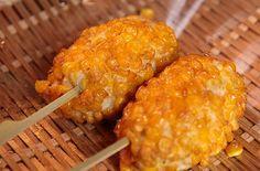 味の浜藤 築地本店 『もろこし揚げ』 Fried Corn, Macaroni And Cheese, Restaurants, Places, Ethnic Recipes, Sweet, Food, Candy, Mac And Cheese