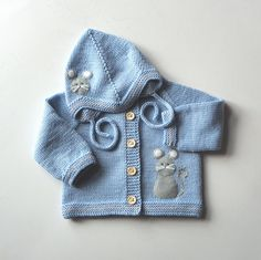 Knitted baby boy set light blue baby set with mouse by Tuttolv
