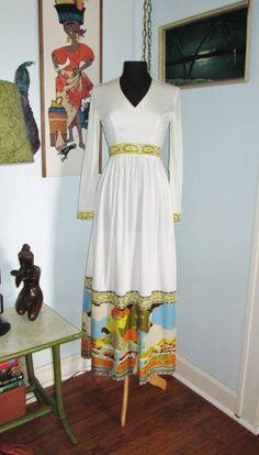 Vintage 60's Psychedelic Print Maxi Dress by FlashyTrashHag, $45.00