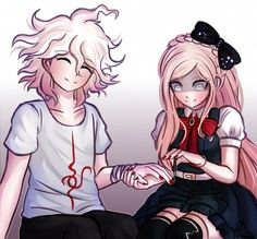 Nagito Komaeda and Sonia Nevermind. Danganronpa Memes, Super Danganronpa, Danganronpa Characters, Nagito Komaeda, Literature Club, Marvel, Cute Gay, Pitta, Cool Girl