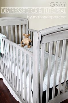 Distressed grey crib #DIY #paintedfurniture - www.countrychicpaint.com/blog