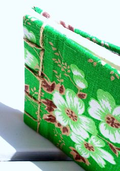 Green with natural tones in retro fabric covered by poppyshome, $35.00