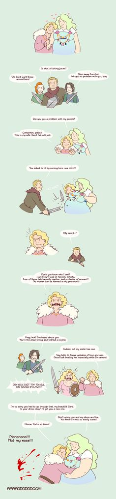 Webcomic: We don't much remember that Freyr, the Norse god of harvest, also had the unique property that women couldn't be harmed Life Comics, Fun Comics, Tumblr Funny, Funny Memes, Funny Cute, Hilarious, Werewolf Stories, Short Comics, Strong Love
