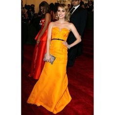 Emma Roberts Yellow Strapless Custom Prom Dress 2012 Met Ball Red Carpet
