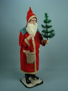 Paper mache Santa/candy container hand made by Paul Turner studio Merry Christmas To All, German Christmas, Old Fashioned Christmas, Antique Christmas, Father Christmas, Retro Christmas, Christmas Items, Christmas Candy, Christmas Wishes