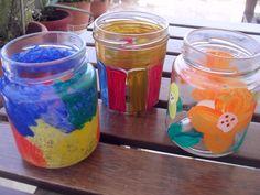 handpainted storm lanterns, different paints