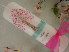 Taufkerze Kommunionkerze Kerze zur Taufe Lebensbaum rosa Herzen für Mädchen