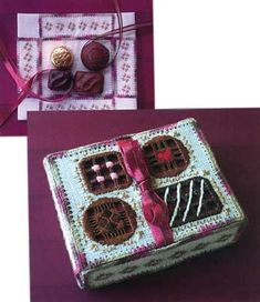 NEWEST!  A small box of chocolates becomes an especially sweet gift when covered with a Hardanger box top. Were all crazy for chocolate and chocolate makes us a bit crazy.  This box top is Hardanger gone crazy with modifications to the traditional stitches.  The box top depicts the contents of the box