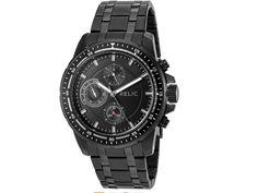 New Mens Relic ZR15833 Stainless Steel Black Heath Quartz Watch