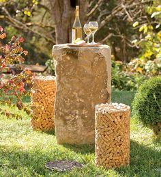 Make some outdoor stools. | 37 Insanely Creative Things To Do With Popped Corks