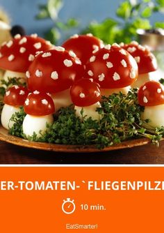 Eier-Tomaten-`Fliegenpilze´ - die finden die Kinder immer super!