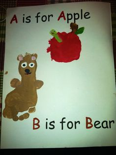 A is for apple, b is for bear, handprint, footprint - calendar page (the apple was the palm & thumb for the stem)