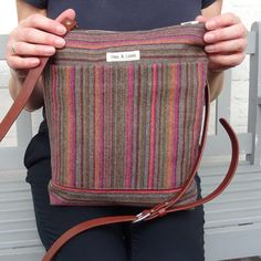 e3aa3a62194 Shoulder Bag Striped Wool with Adjustable Leather Strap Wool Fabric, Shoulder  Bag, Shoulder Bags