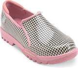 A cute Sperry hounds-tooth slip on shoe with the pale pink sole...