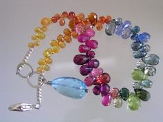 Rainbow Gemstone Sapphire Tourmaline Ruby Sterling Layering Bracelet