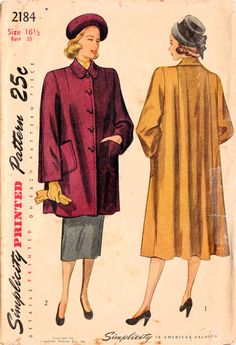1940s Simplicity 2184 Vintage Sewing Pattern Misses Coat Size 16-1/2 Bust 35